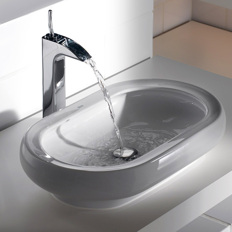 Roca Evol Chrome Extended Basin Mixer & Pop-up waste - 5A3449C00 profile large image view 2