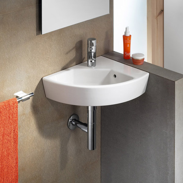 Roca Hall 350 x 430mm Offset Wall-hung 1TH Corner Basin profile large image view 2