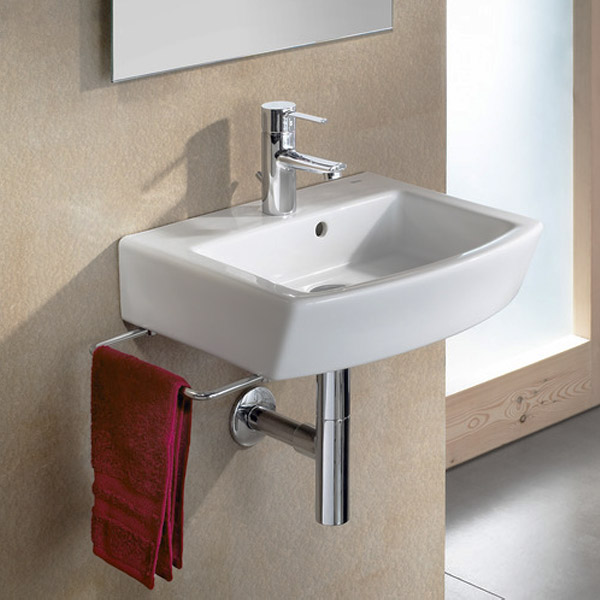 Roca hall 450 x 380mm cloakroom wall hung 1th basin for Roca cloakroom basin