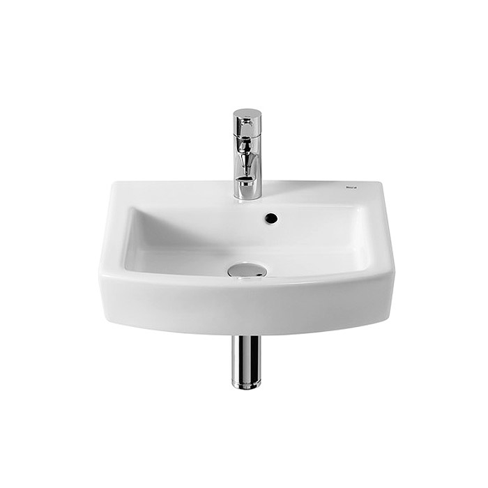 Roca Hall 450 x 380mm Cloakroom Wall-hung 1TH Basin - 327624000 profile large image view 1
