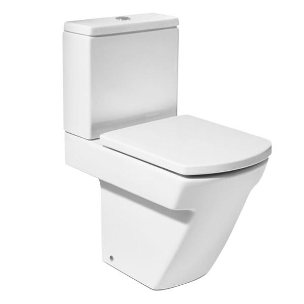 Roca Hall Open Back Close Coupled Toilet with Soft-Close Seat profile large image view 1