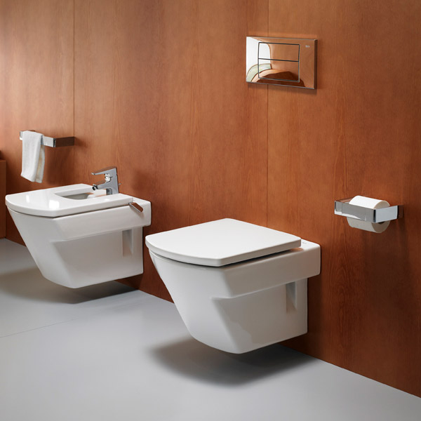 Roca Hall Wall Hung Pan with Soft-Close Seat profile large image view 2