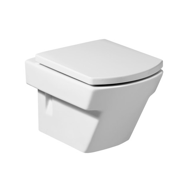 Roca Hall Wall Hung Pan with Soft-Close Seat profile large image view 1