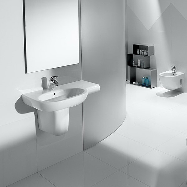 Roca Meridian-N 750 x 460mm Offset Wall-hung 1TH Basin profile large image view 2