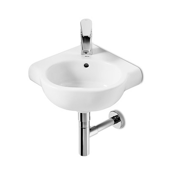 Roca Meridian-N Compact 350 x 350mm Wall-hung Corner 1TH Basin - 32724C000 Large Image