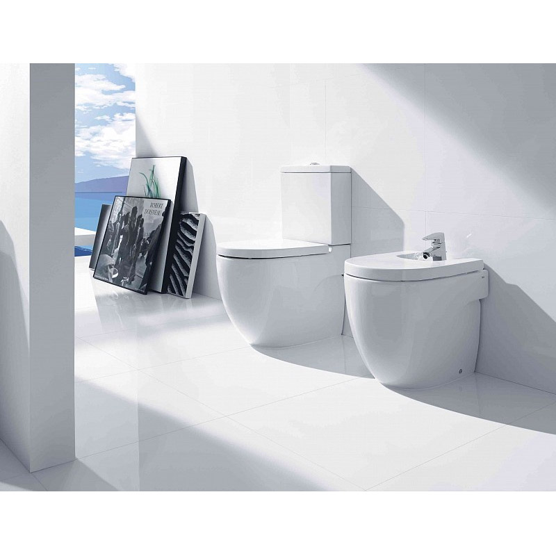 Roca Meridian-N Compact Floor-Standing BTW Bidet with Soft-Close Cover profile large image view 2