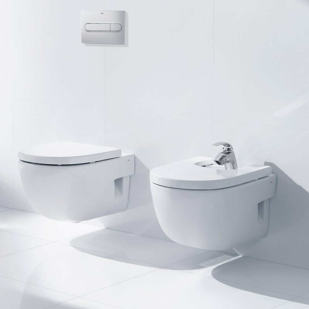 Roca Meridian-N Compact Wall Hung Pan with Soft Close Seat profile large image view 3