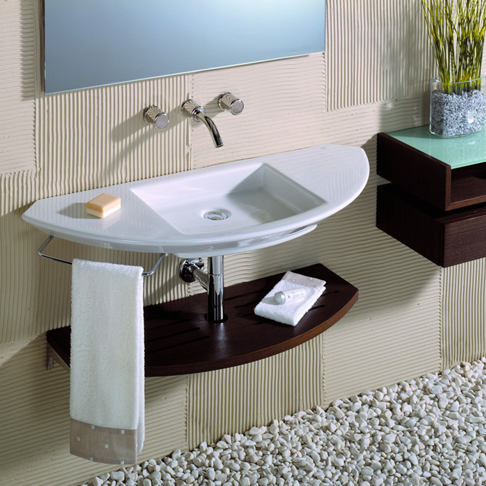 Roca Mohave Wall-hung Basin with Integrated shelf profile large image view 3