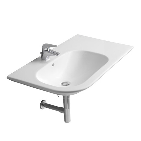 Roca Nexo 900 x 495mm Wall-hung Asymmetric Basin with Intergrated Shelf profile large image view 2