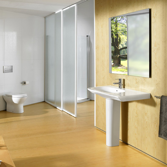 Roca Nexo 900 x 495mm Wall-hung Asymmetric Basin with Intergrated Shelf profile large image view 4