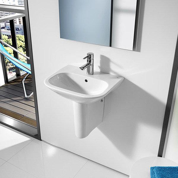 Roca Nexo 450 x 360mm Wall-hung 1TH Cloakroom Basin - 327643000 profile large image view 3