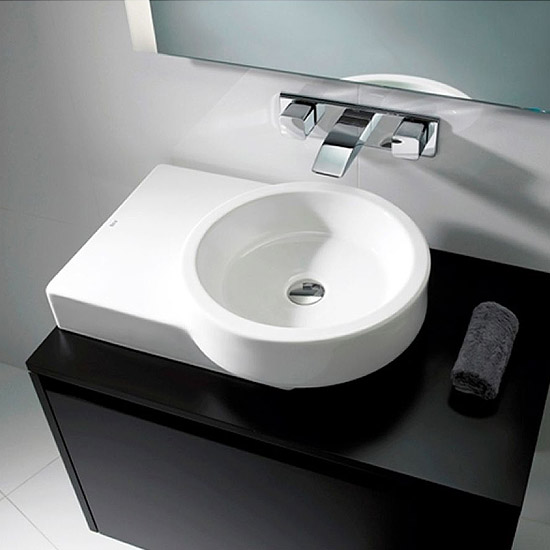 Roca Post 600 x 450mm Over countertop Basin with Integrated shelf 0TH - 32722R000 Profile Large Image