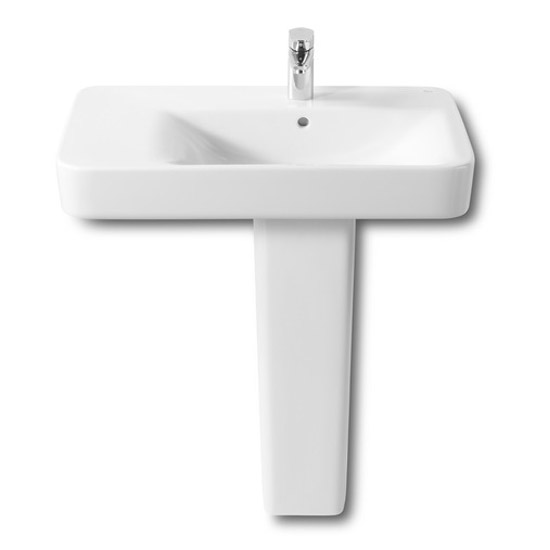 Roca Senso Square 750 x 475mm Wall-hung Asymmetric Basin with Integrated Shelf profile large image view 2