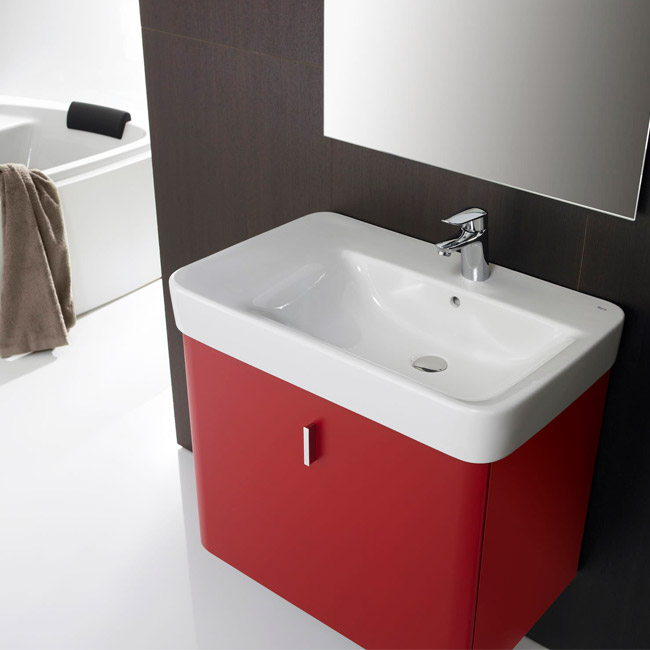 Roca Senso Square 750 x 475mm Wall-hung Asymmetric Basin with Integrated Shelf profile large image view 4