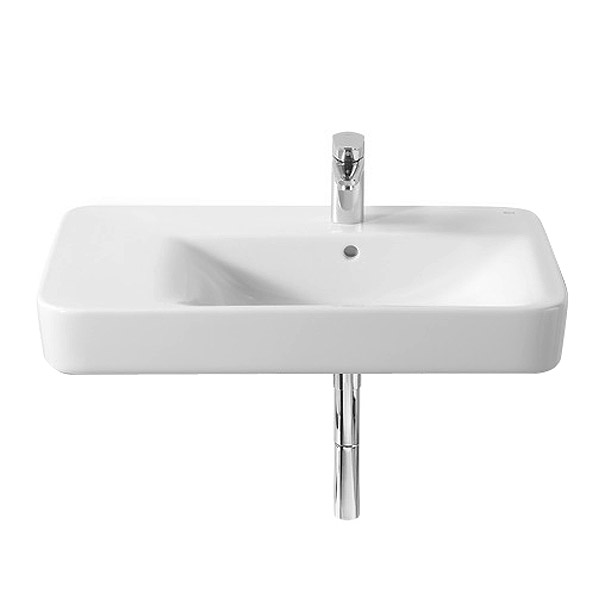 Roca Senso Square 750 x 475mm Wall-hung Asymmetric Basin with Integrated Shelf Large Image