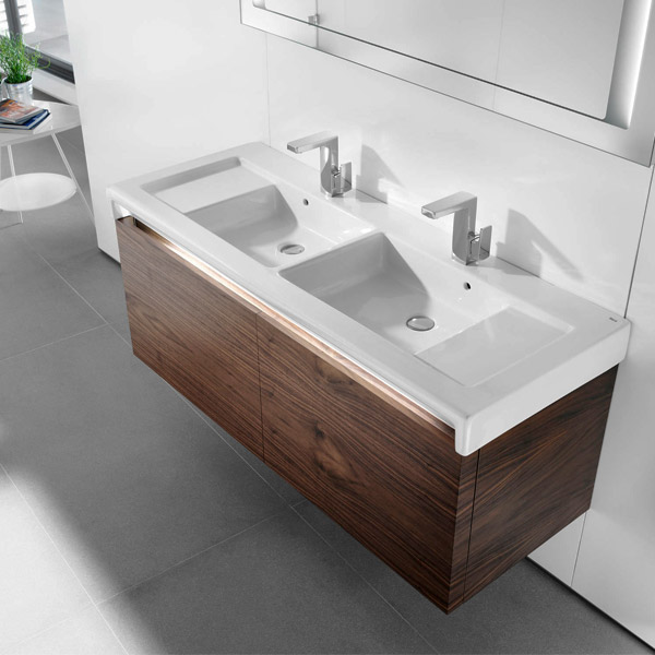 Roca Stratum 1300 x 500mm Double Wall-hung or vanity 2TH Basin - 327630000 profile large image view 2