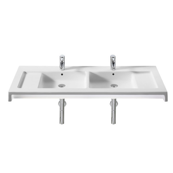 Roca Stratum 1300 x 500mm Double Wall-hung or vanity 2TH Basin - 327630000 profile large image view 1