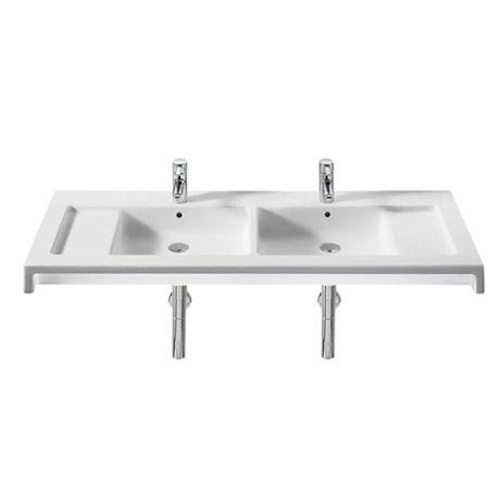 Roca Stratum 1300 x 500mm Double Wall-hung or vanity 2TH Basin - 327630000