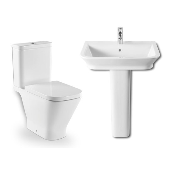 Roca - The Gap 4 Piece Bathroom Suite - close coupled WC & basin with pedestal profile large image view 1