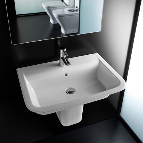 Roca - The Gap 650mm 1 tap hole basin with semi pedestal Profile Large Image