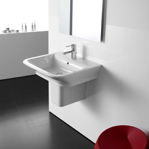 Roca - The Gap 650mm 1 tap hole basin with semi pedestal Feature Large Image