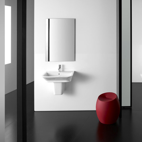 Roca - The Gap 650mm 1 tap hole basin with semi pedestal Standard Large Image