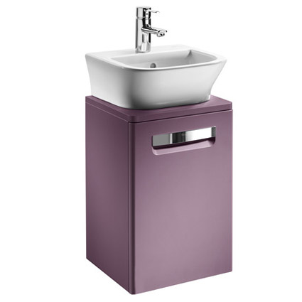 Roca - The Gap wall hung base unit with basin W400 x D320 - Matt Grape Large Image