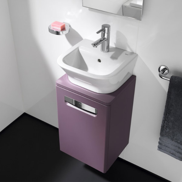 Roca - The Gap wall hung base unit with basin W400 x D320 - Matt Grape Feature Large Image