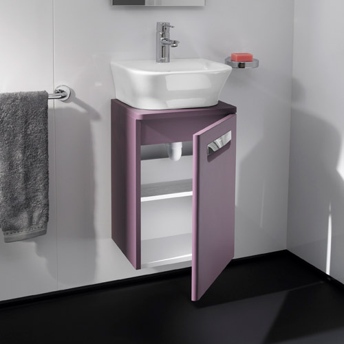 Roca - The Gap wall hung base unit with basin W400 x D320 - Matt Grape profile large image view 4