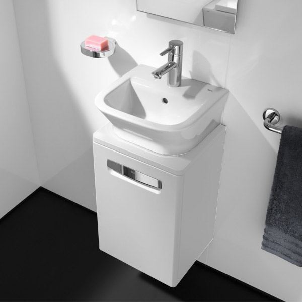 Roca - The Gap wall hung base unit with basin W400 x D320 - Matt White Feature Large Image