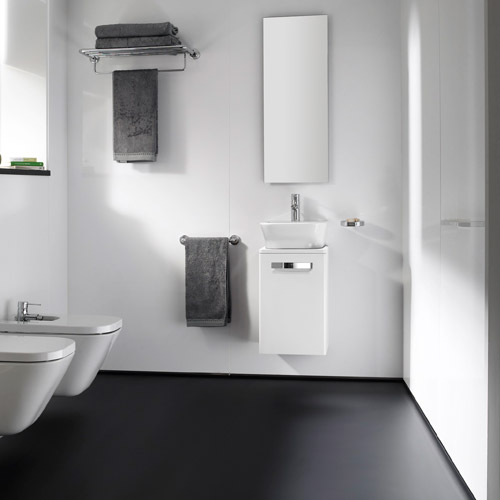 Roca - The Gap wall hung base unit with basin W400 x D320 - Matt White In Bathroom Large Image