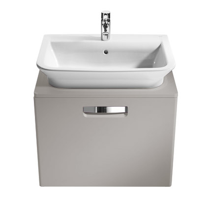 Roca - The Gap wall hung base unit with basin W555 x D470 - Matt Beige profile large image view 2