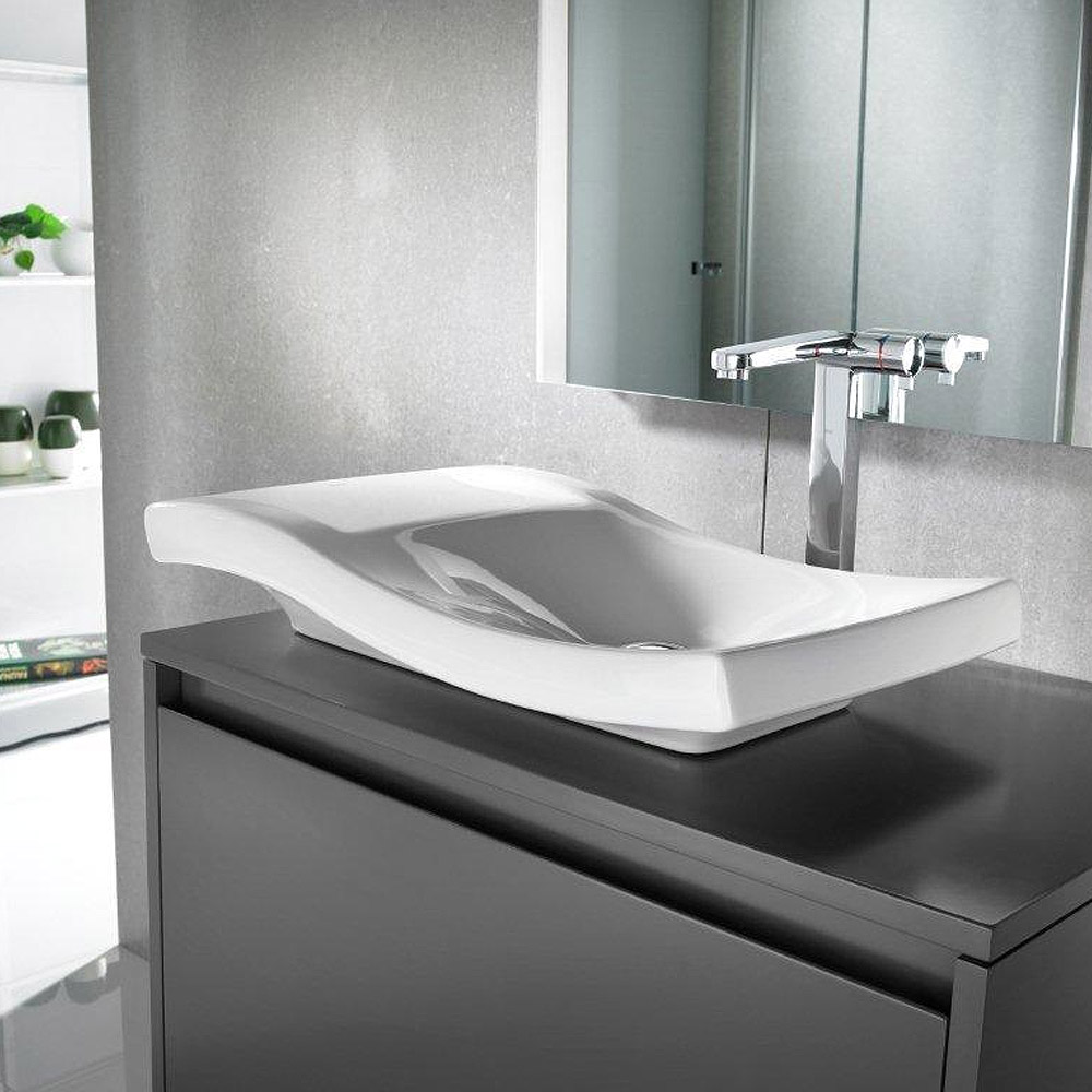 Roca Urbi 2 660 x 380mm Over countertop vitreous china basin 0TH - 327226000 profile large image view 3
