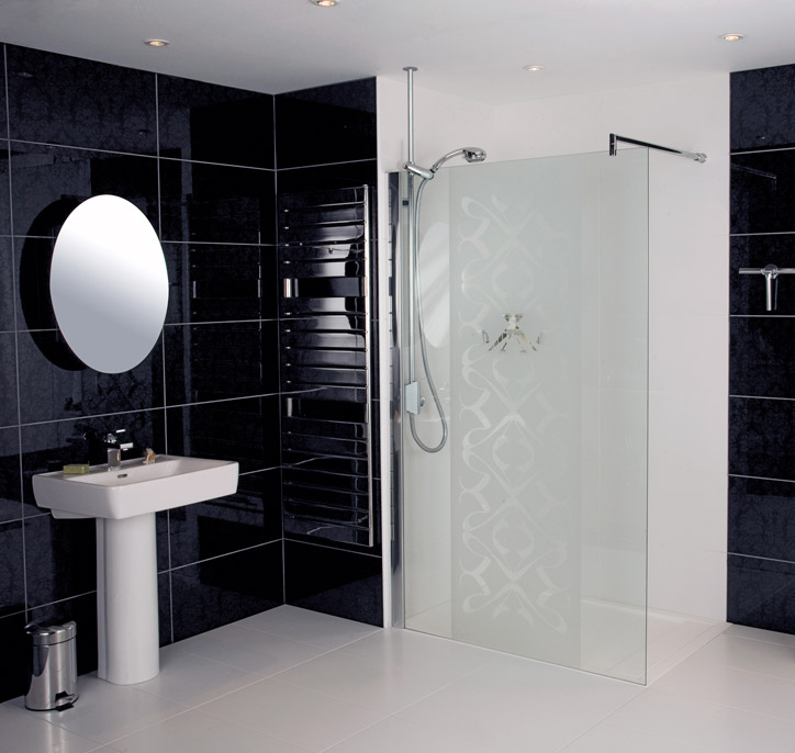 Roman Embrace Patterned Glass Corner Wetroom Panel Various Size Options At Victorian Plumbing Uk