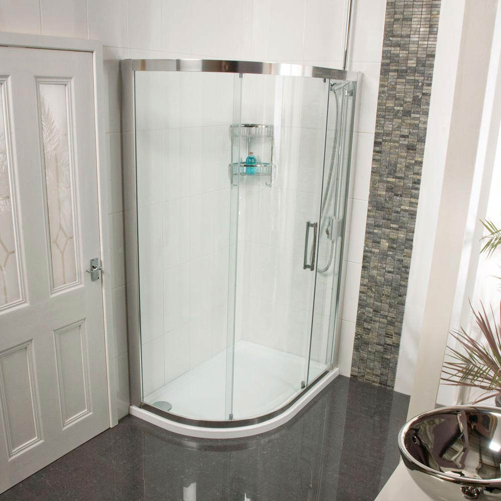 Roman Embrace Single Door Offset Quadrant Shower Enclosure - Various Size Options Large Image