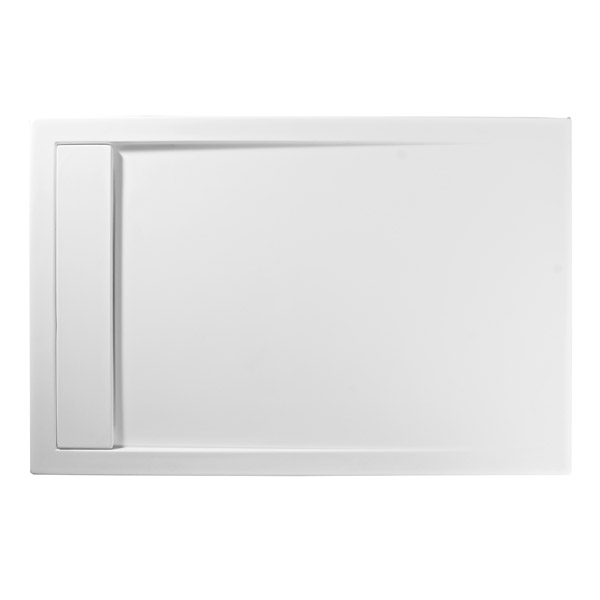 Roman - Infinity 40mm Low Profile Stone Rectangular Shower Tray - Matt White - Various Size Options Standard Large Image