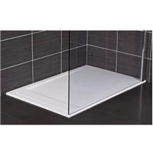 Roman - Infinity 40mm Low Profile Stone Rectangular Shower Tray - Matt White - Various Size Options Medium Image