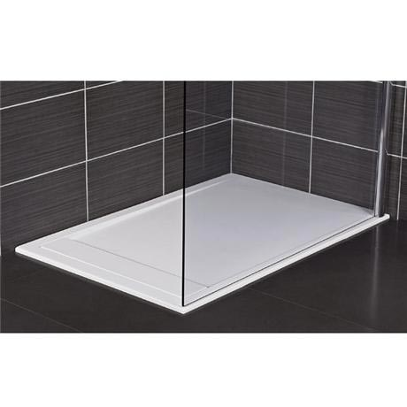 Roman - Infinity 40mm Low Profile Stone Rectangular Shower Tray - Gloss White - Various Size Options