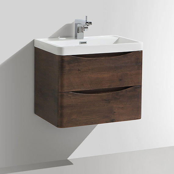 Ronda Chestnut 600mm Wide Wall Mounted Vanity Unit profile large image view 4