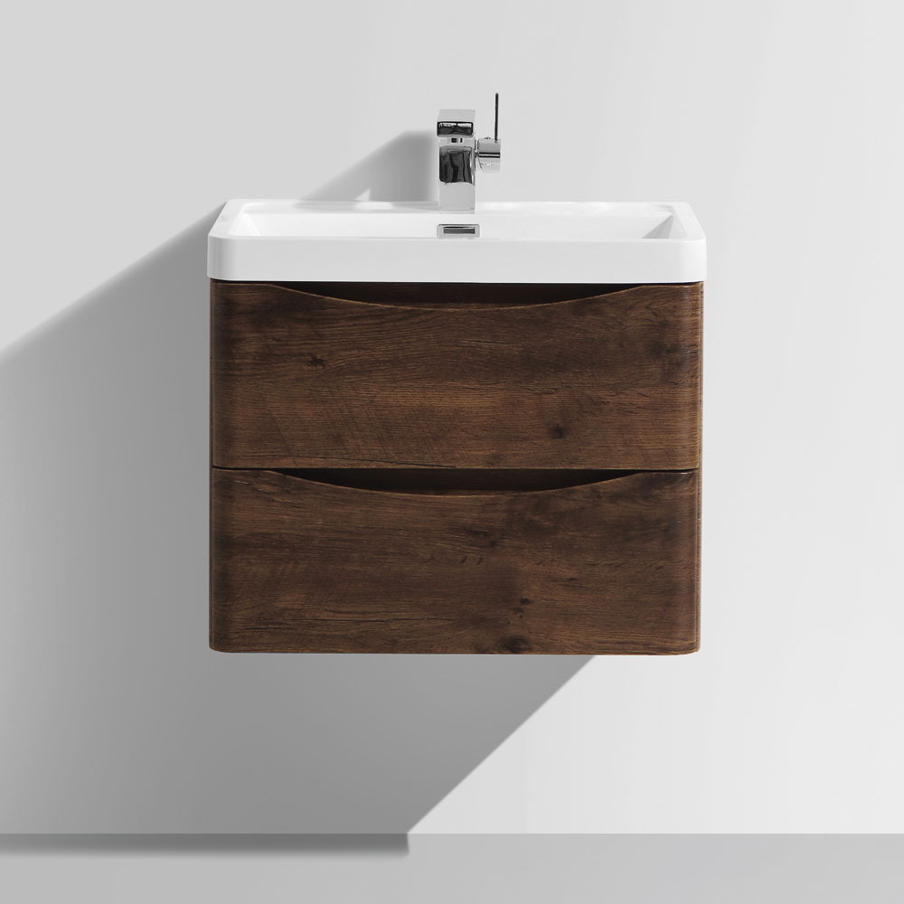 Ronda Chestnut 600mm Wide Wall Mounted Vanity Unit profile large image view 5