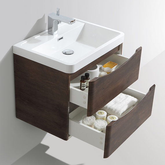 Ronda Chestnut 600mm Wide Wall Mounted Vanity Unit profile large image view 2