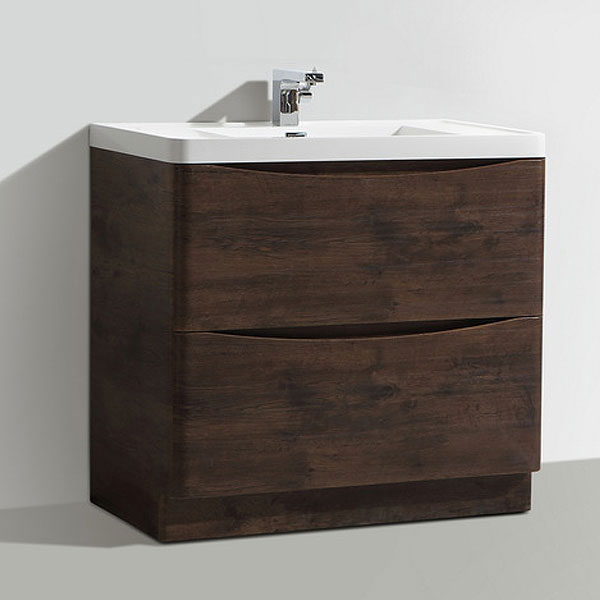 Ronda Chestnut 900mm Wide Floor Standing Vanity Unit profile large image view 4