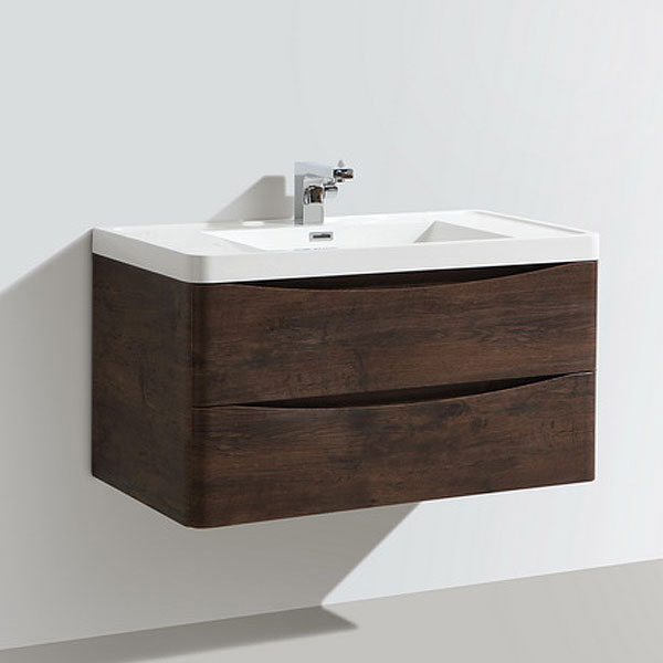 Ronda Chestnut 900mm Wide Wall Mounted Vanity Unit Standard Large Image