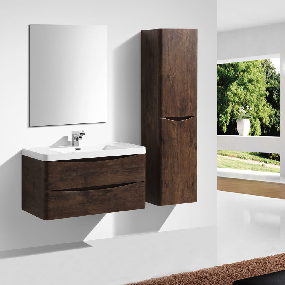Ronda Chestnut 900mm Wide Wall Mounted Vanity Unit In Bathroom Large Image