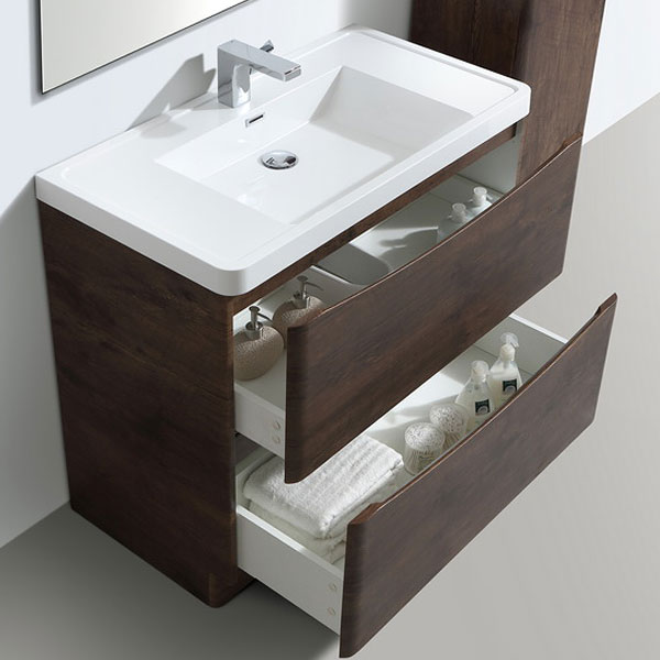 Ronda Chestnut 900mm Wide Floor Standing Vanity Unit profile large image view 2