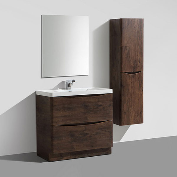 Ronda Chestnut 900mm Wide Floor Standing Vanity Unit profile large image view 3