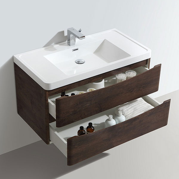 Ronda Chestnut 900mm Wide Wall Mounted Vanity Unit Profile Large Image