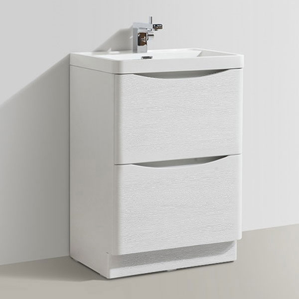 Ronda White Ash 600mm Wide Floor Standing Vanity Unit profile large image view 5