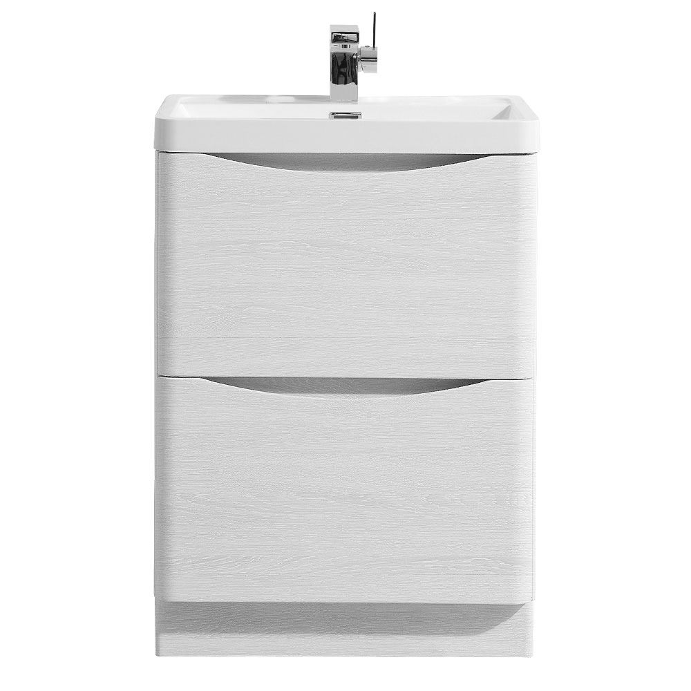 Ronda White Ash 600mm Wide Floor Standing Vanity Unit Large Image
