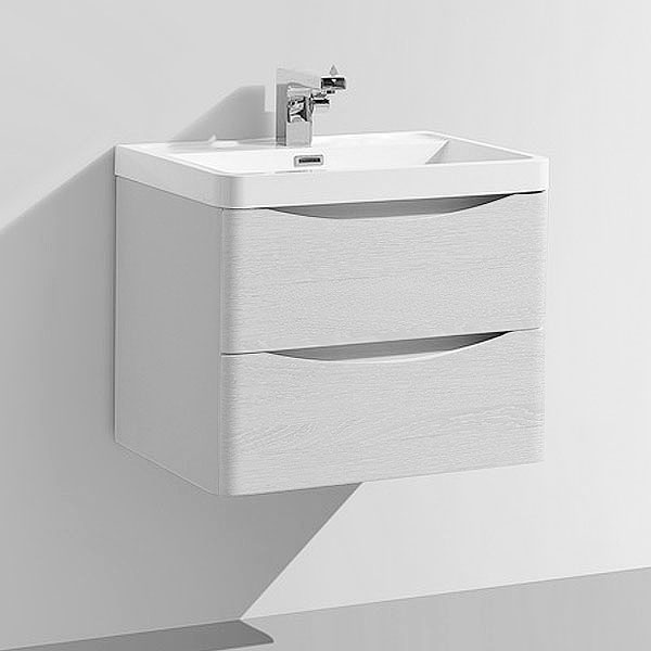 Ronda White Ash 600mm Wide Wall Mounted Vanity Unit In Bathroom Large Image